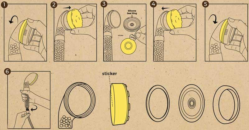 notice pour le pommeau de douche filtrant avec arômes citron et rose
