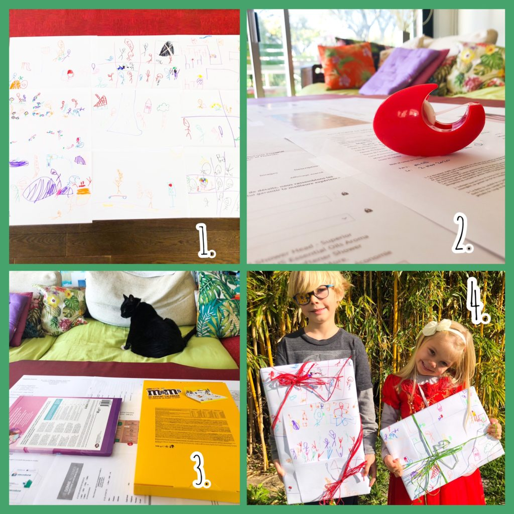 Reduce waste in wrapping gifts by repurposing kids drawings, especially if on recycled paper.